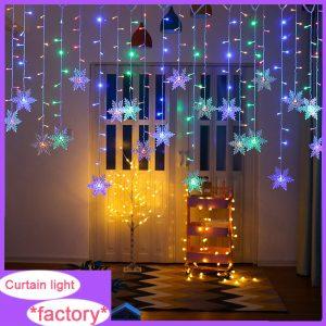 Led Snowflake Window Curtain Light Led String Lights Flashing Curtain Lights Party Decor (3)