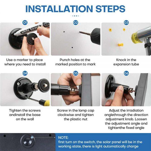 Led Solar Wall Street Light Pir Motion Sensor Outdoor Yard Park Waterproof Lamp (17)