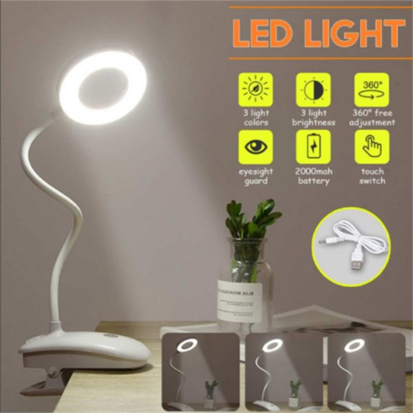 Led Usb Clip On Flexible Desk Lamp Dimmable Memory Bed Reading Table Study Light (2)