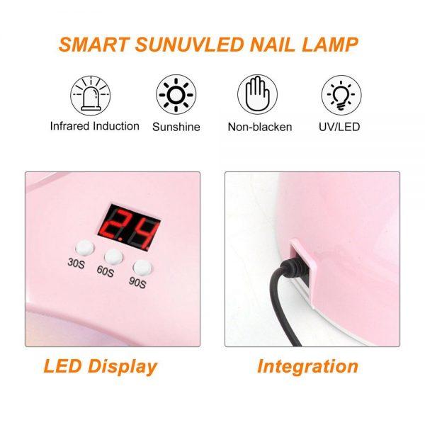 Led Uv New Nail Polish Dryer Lamp Gel Acrylic Curing Light Professional Spa Tool (5)