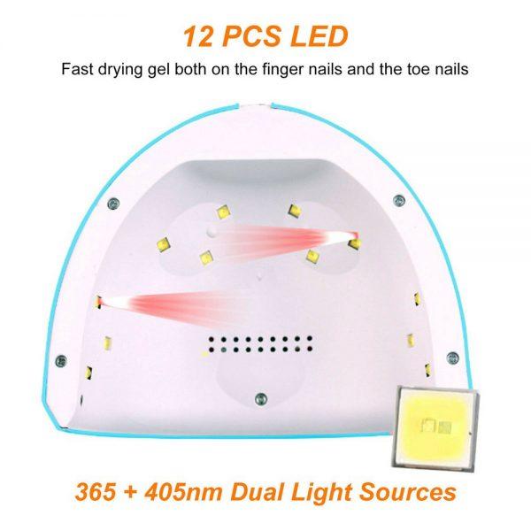 Led Uv New Nail Polish Dryer Lamp Gel Acrylic Curing Light Professional Spa Tool (9)