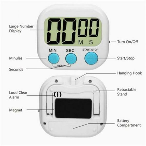 Large Lcd Digital Kitchen Egg Cooking Timer Count Down Clock Alarm Stopwatch Uk (5)