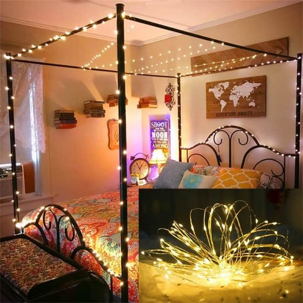 Led Curtain Lights Usb With Led Remote Control Copper Wire Curtain Light 32m Warm White (13)