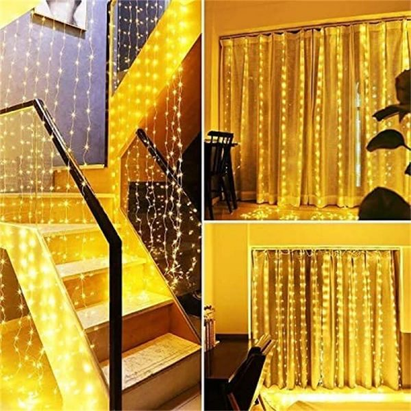 Led Curtain Lights Usb With Led Remote Control Copper Wire Curtain Light 32m Warm White (2)
