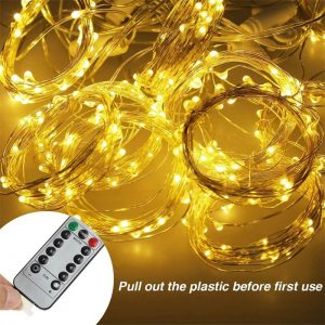 Led Curtain Lights Usb With Led Remote Control Copper Wire Curtain Light 32m Warm White (8)