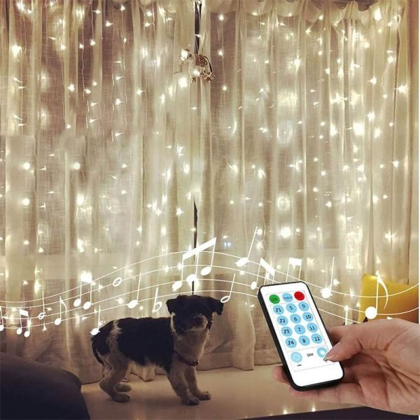 Led Curtain Lights Usb With Led Remote Control Copper Wire Curtain Light 32m Warm White (9)