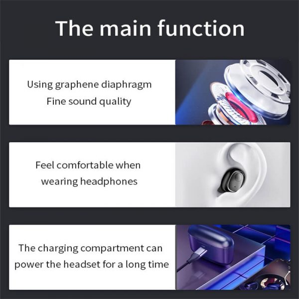 Mini Portable Earphone Microphone Stereo Earbuds Wireless Earbuds With Charging Box Earphone (6)
