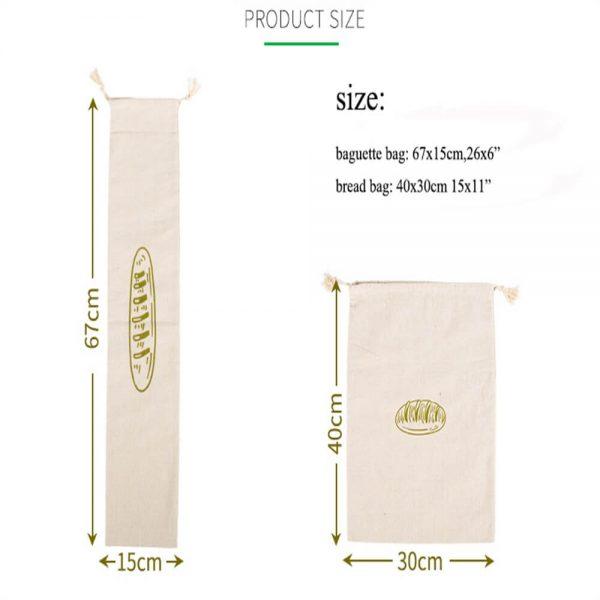 Natural Drawstring Linen Bags Storage Baguettes Linen Bread Bags Reusable Linen Bread Bags (1)