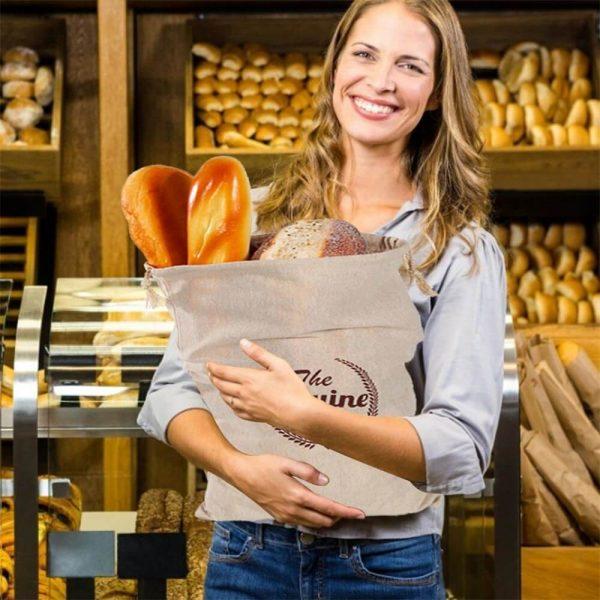 Natural Drawstring Linen Bags Storage Baguettes Linen Bread Bags Reusable Linen Bread Bags (2)