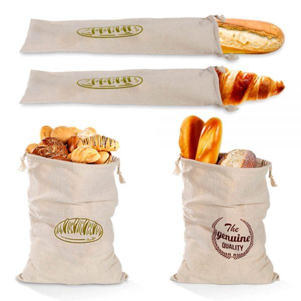Natural Drawstring Linen Bags Storage Baguettes Linen Bread Bags Reusable Linen Bread Bags (3)
