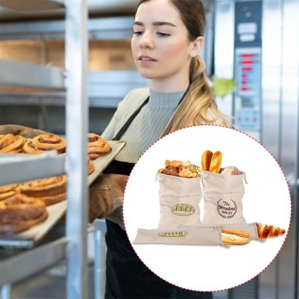 Natural Drawstring Linen Bags Storage Baguettes Linen Bread Bags Reusable Linen Bread Bags (4)