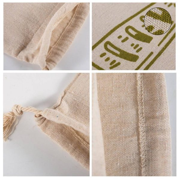 Natural Drawstring Linen Bags Storage Baguettes Linen Bread Bags Reusable Linen Bread Bags (5)