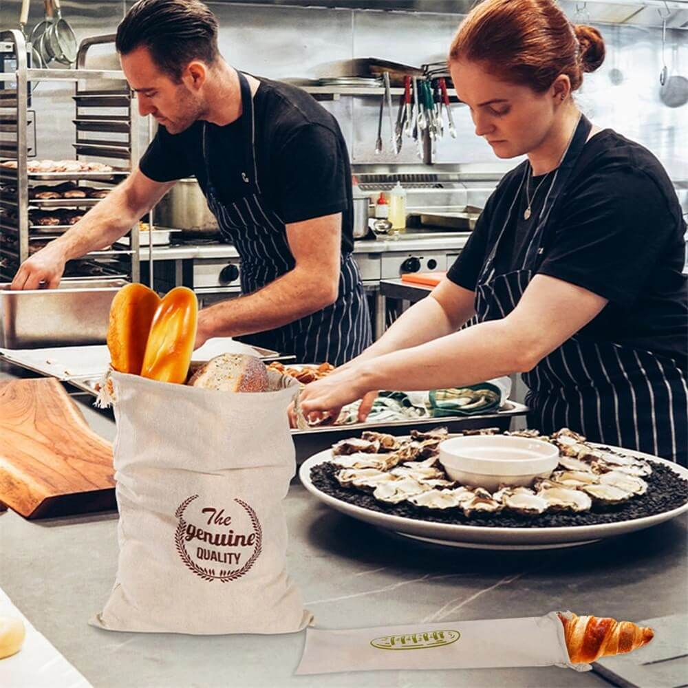 Natural Drawstring Linen Bags Storage Baguettes Linen Bread Bags Reusable Linen Bread Bags (6)