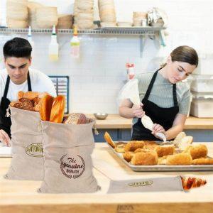 Natural Drawstring Linen Bags Storage Baguettes Linen Bread Bags Reusable Linen Bread Bags (7)