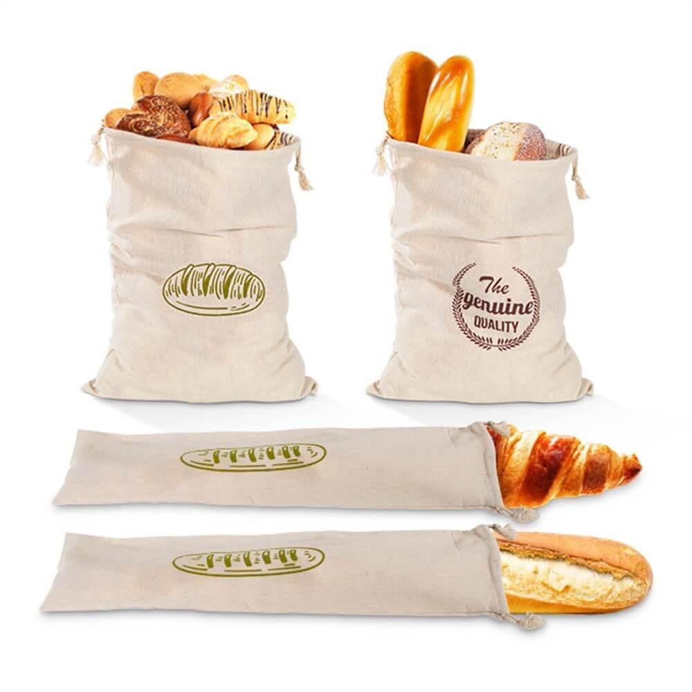 Natural Drawstring Linen Bags Storage Baguettes Linen Bread Bags Reusable Linen Bread Bags (8)