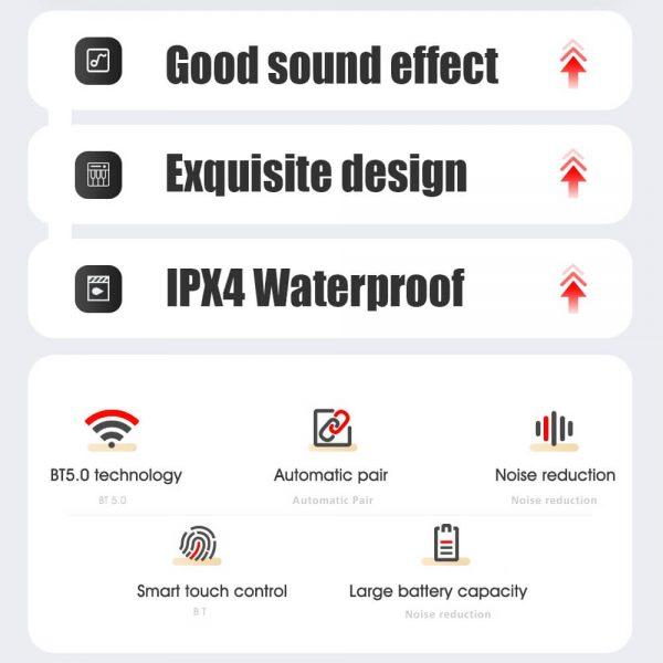 New Tws Wireless Stereo Earphones Waterproof Earbuds Earphone Charging Box (5)