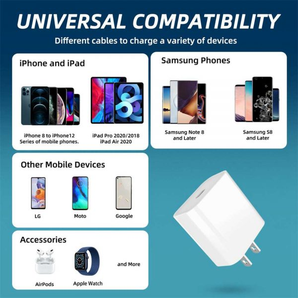 Pd 20w Fast Charging Usb C Charger For Iphone 12 Mini Pro Max 12 11 Xs Xr X 8 (7)