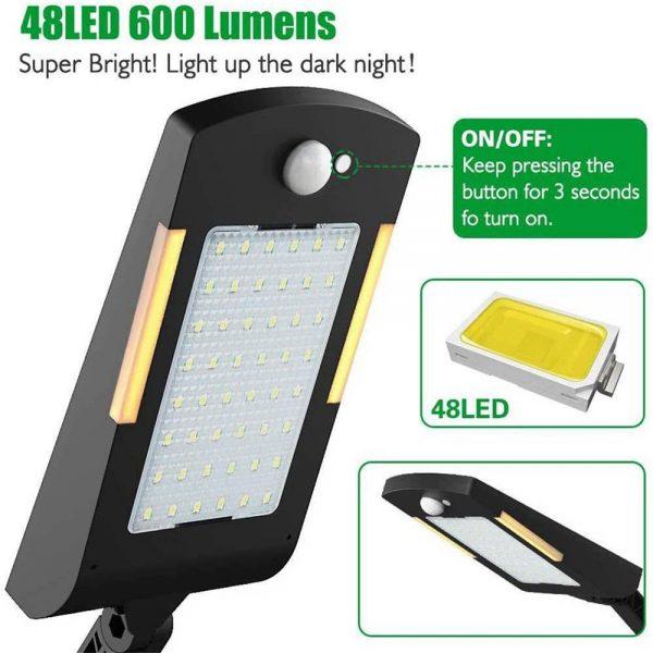 Path Garden Lamp 48led Solar Power Pir Motion Sensor Wall Street Lights (5)