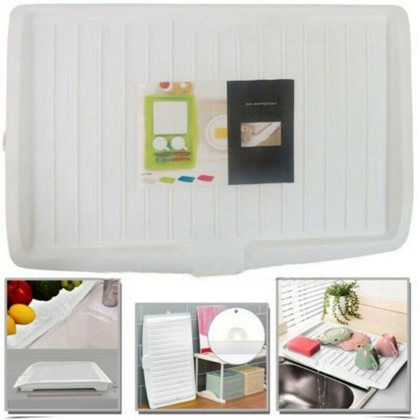 Plastic Worktop Dish Drainer Drip Tray Large Kitchen Sink Drying Rack Holder Uk (7)