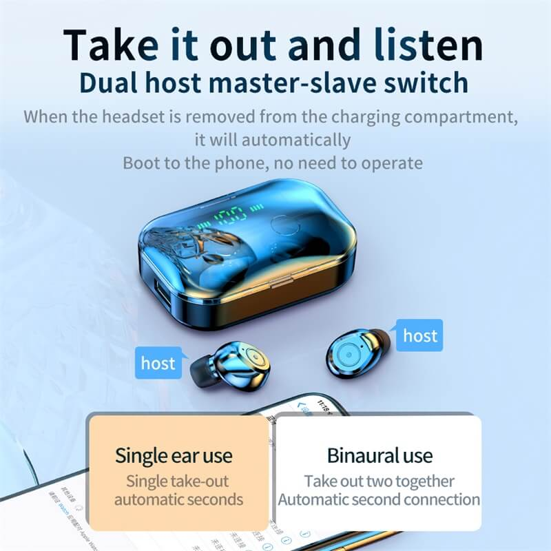 Portable Bluetooth Earphone High Quality Mini Sport Stereo Magnetic Touch 5.0 Earbuds Earphone (3)