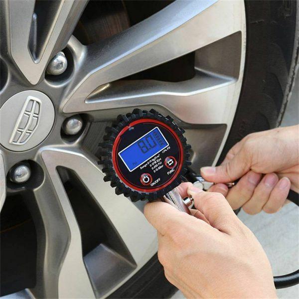 Professional Digital Lcd Tyre Tire Air Pump Pressure Gauge Tester 200psi Car Van (2)
