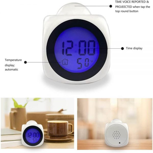 Projection Electronic Alarm Clock Fashion Clock Led Display Voice Time Alarm (2)
