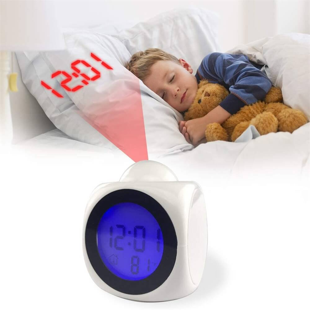 Projection Electronic Alarm Clock Fashion Clock Led Display Voice Time Alarm (3)