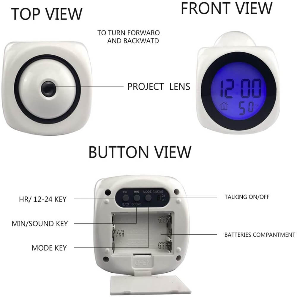 Projection Electronic Alarm Clock Fashion Clock Led Display Voice Time Alarm (4)