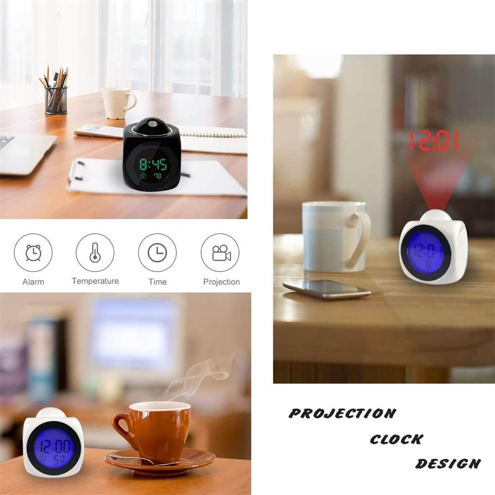 Projection Electronic Alarm Clock Fashion Clock Led Display Voice Time Alarm (5)