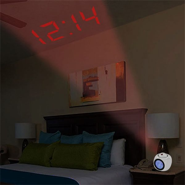 Projection Electronic Alarm Clock Fashion Clock Led Display Voice Time Alarm (7)