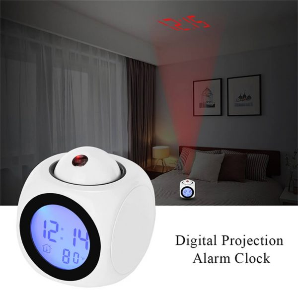 Projection Electronic Alarm Clock Fashion Clock Led Display Voice Time Alarm (8)