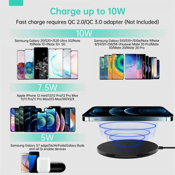 Qi Wireless Fast Charger Charging Pad Dock For Samsung Iphone Android Cell Phone (11)