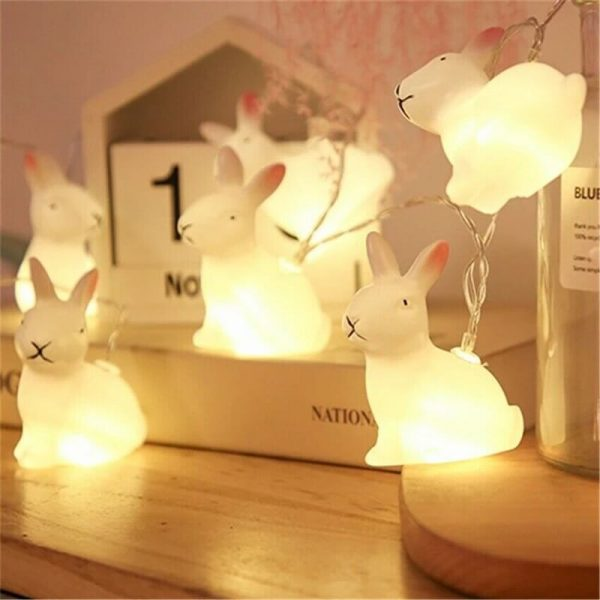 Rabbit Led String Lights Battery Operated Easter Bunny Shaped Light For Christmas Hallowee (1)