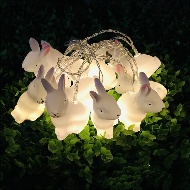 Rabbit Led String Lights Battery Operated Easter Bunny Shaped Light For Christmas Hallowee (5)
