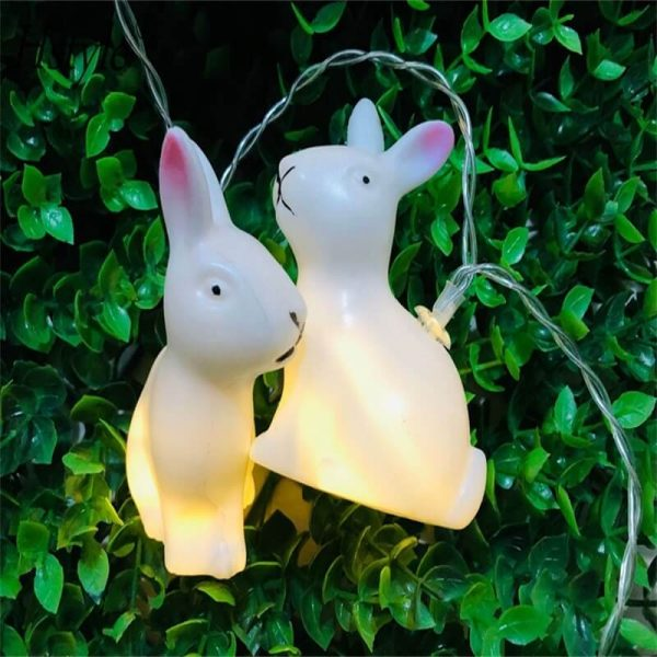 Rabbit Led String Lights Battery Operated Easter Bunny Shaped Light For Christmas Hallowee (9)