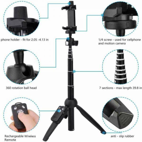 Selfie Stick 40 Inch Extendable Selfie Stick Tripod Phone Tripod With Wireless (12)