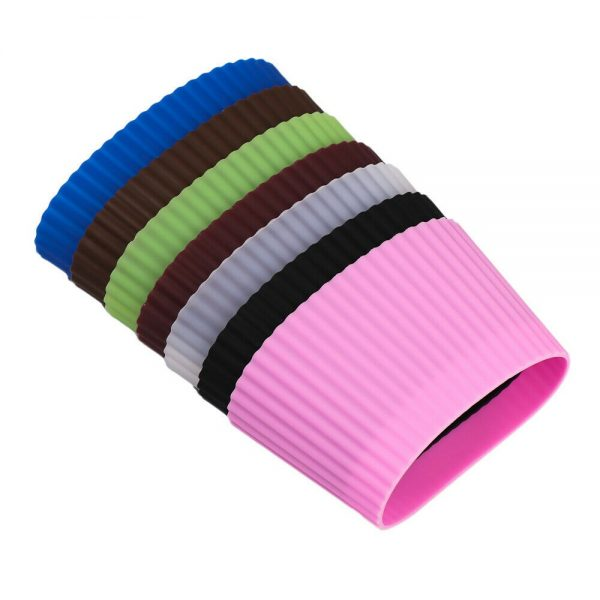 Silicone Cup Sleeve Insulation Anti Fall Non Slip Thermos Bottle Sleeves Uk (11)