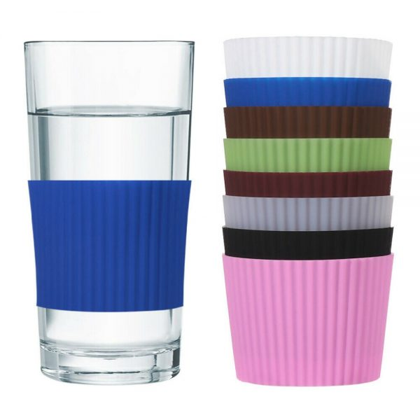 Silicone Cup Sleeve Insulation Anti Fall Non Slip Thermos Bottle Sleeves Uk (2)