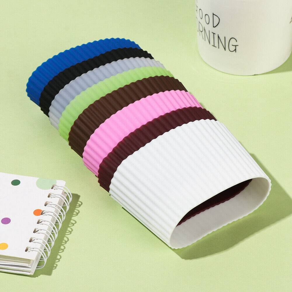 Silicone Cup Sleeve Insulation Anti Fall Non Slip Thermos Bottle Sleeves Uk (7)