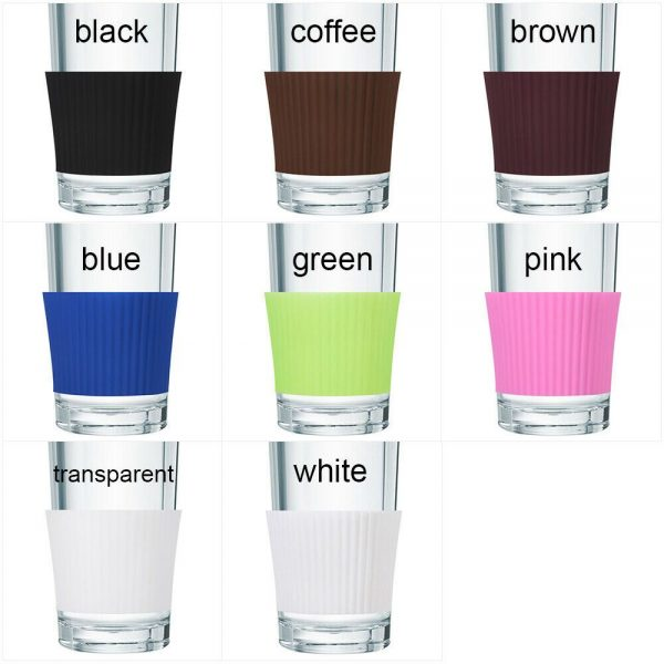 Silicone Cup Sleeve Insulation Anti Fall Non Slip Thermos Bottle Sleeves Uk (8)