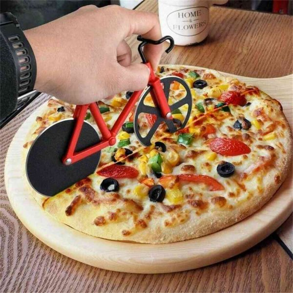 Stainless Steel Bicycle Pizza Cutter Bike Dual Slicer Chopper Home Kitchen (17)
