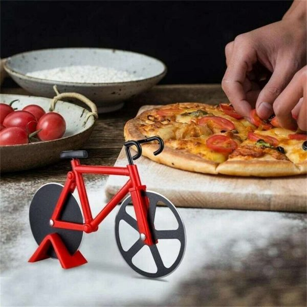 Stainless Steel Bicycle Pizza Cutter Bike Dual Slicer Chopper Home Kitchen (18)