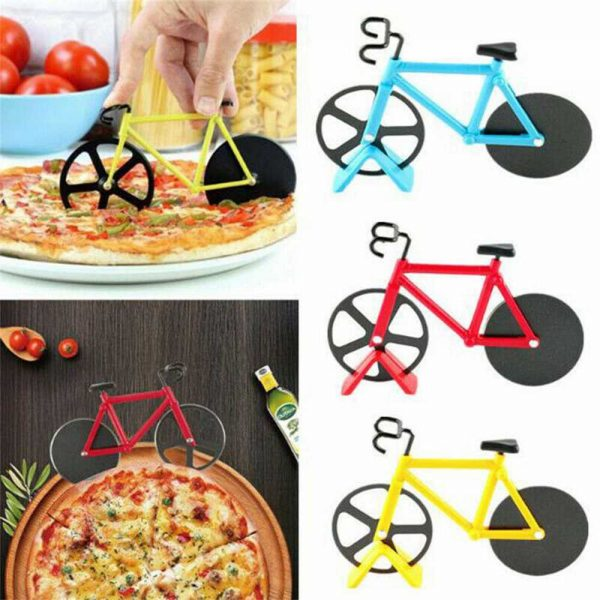Stainless Steel Bicycle Pizza Cutter Bike Dual Slicer Chopper Home Kitchen (19)