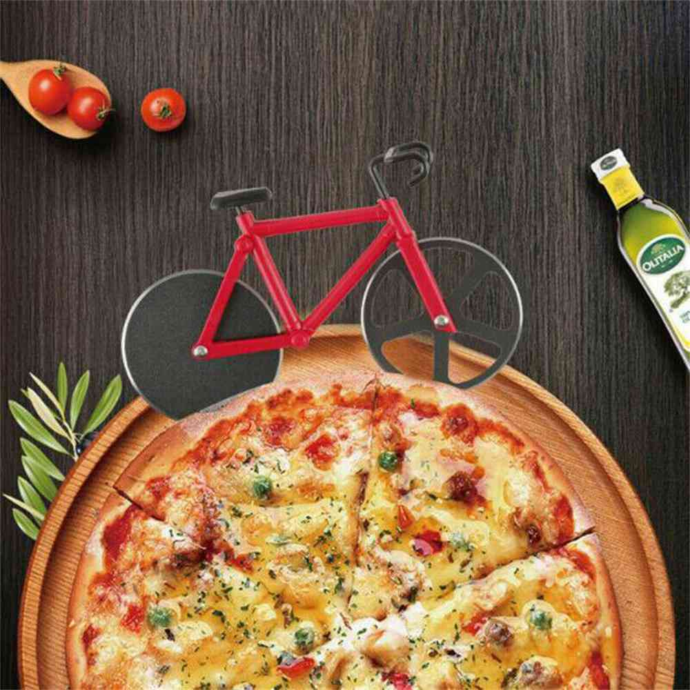 Stainless Steel Bicycle Pizza Cutter Bike Dual Slicer Chopper Home Kitchen (20)