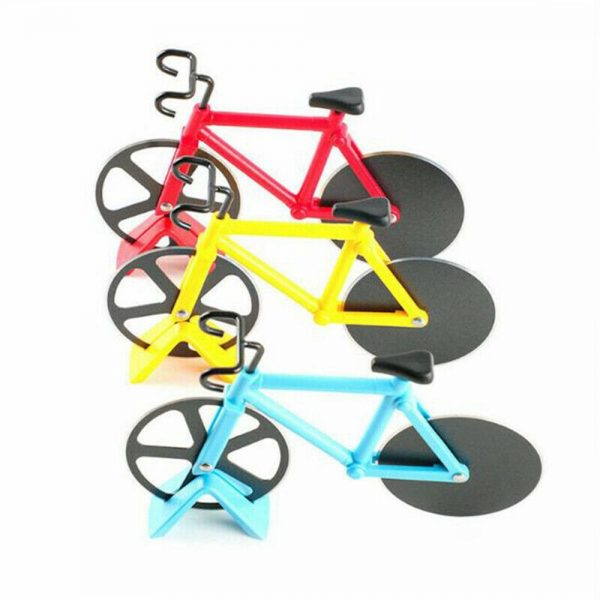 Stainless Steel Bicycle Pizza Cutter Bike Dual Slicer Chopper Home Kitchen (21)