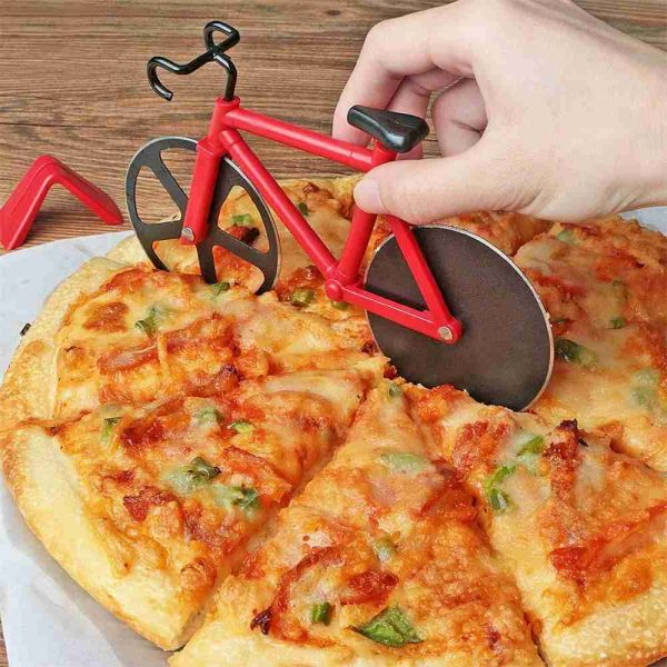 Stainless Steel Bicycle Pizza Cutter Bike Dual Slicer Chopper Home Kitchen (5)