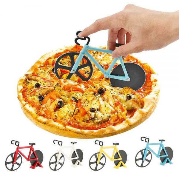 Stainless Steel Bicycle Pizza Cutter Bike Dual Slicer Chopper Home Kitchen (6)