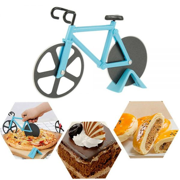 Stainless Steel Bicycle Pizza Cutter Bike Dual Slicer Chopper Home Kitchen (7)