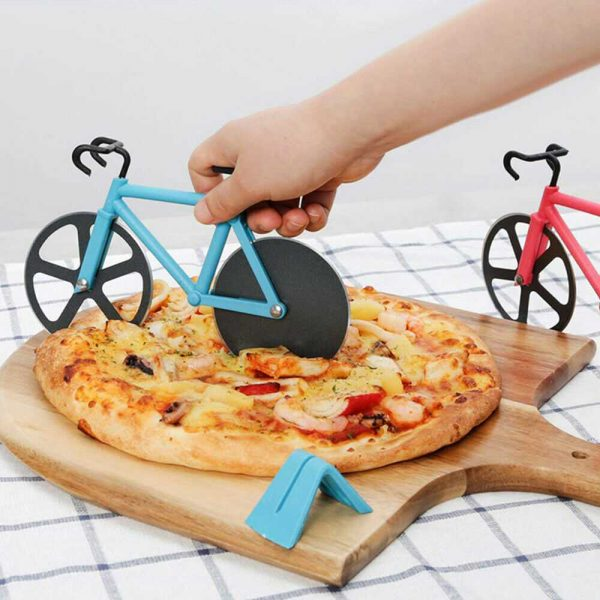 Stainless Steel Bicycle Pizza Cutter Bike Dual Slicer Chopper Home Kitchen (9)