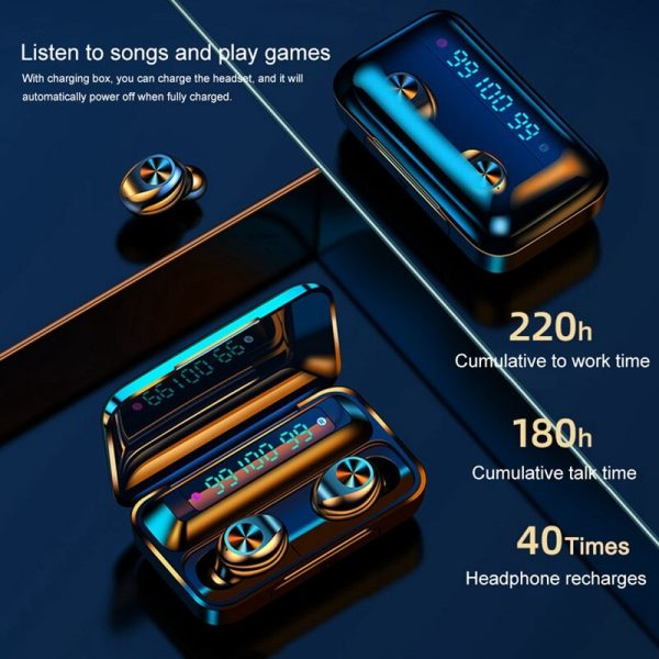 Touch Control Stereo Earphones Charging Case 3 Lcd Led Battery Display With Microphone Sports Earphones (6)